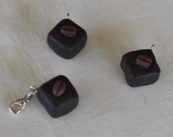 Polymer Clay Chocolate with Coffee Bean Charm