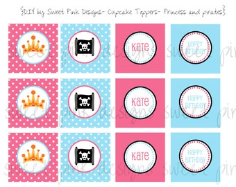 Printable Cupcake Toppers- Pirates and princesses party Collection
