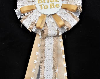 Bride to be Rosette, Bride to Be Corsage, Bridal Shower, Bride to Be, Pin Back, Hessian & Gold, Bridal Keepsake, Bridal Decoration,Hen Night