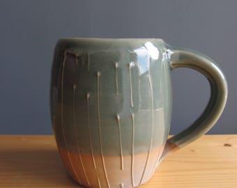 Pottery mug, handmade aqua blue mug, coffee mug, woodfired pottery mug, ceramic coffee mug, gift