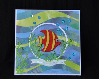 Fishes #7 Handmade Greeting Card birthday wishes animals lovers fish tank aquarium tropical fishes