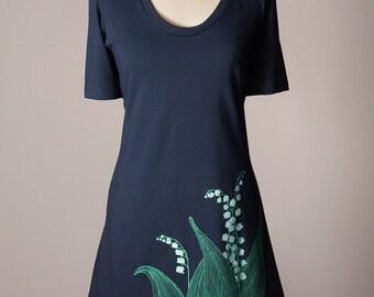 lily-of-the-valley dress, lily of the valley dress, t-shirt dress, navy blue cotton dress