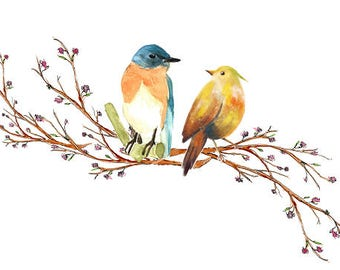 Love Birds Watercolor Clipart Tree Branch Blossom Flowers Birds