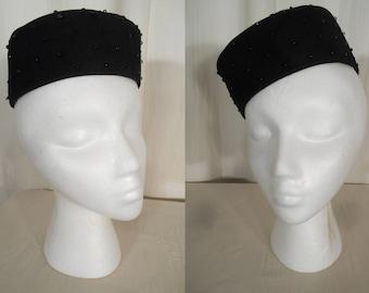 Vintage 1950s Hat - Black Beaded Pill Box Tilt Hat in Black Wool Felt