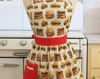 Retro Apron Burgers and Sandwiches on White - CHLOE