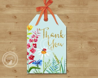 Meadow Thank You Tags, Printable Favour Tags,  Garden Party Woodland Birthday Decor,  Printable 1568
