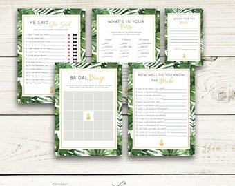 Instant Download Printable Bridal Shower Games Bundle, Tropical Leaf, Aloha, Gold Pineapple