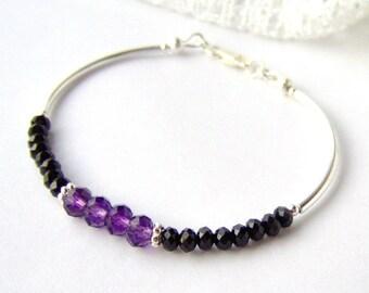 Purple and black crystal stacking bracelet / February birthstone / friendship bracelet / amethyst crystal / best friend gift / gift for her