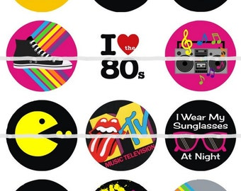 One Inch I Love the 80's Magnets, Pins or Flatbacks 12ct.