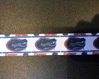 """7/8"""" Florida Gators  Inspired Grosgrain Ribbon"""