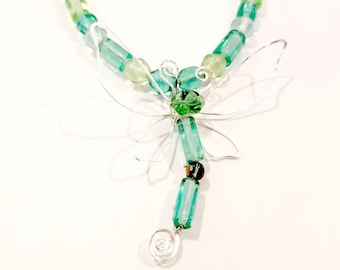 Fairytale Wire Dragonfly Necklace in Sea Green Adjustable Length #901