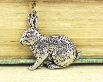 Rabbit Necklace. Antiqued Pewter and Antiqued Bronze Chain Necklace Pendant.