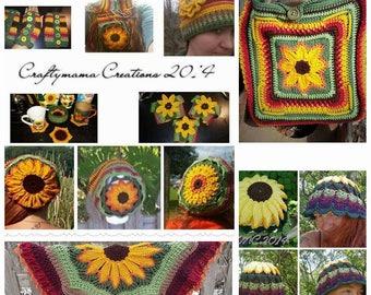 Sunflower Line Designs EBook, 12 sunflower designs in 1 complete EBook, PDF format