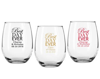 Set of 12 Personalized 9 oz 'Best Day Ever' Stemless Wine Glasses ++ Personalized Glassware ++ Wedding Favors ++ Stemless Wine Glass