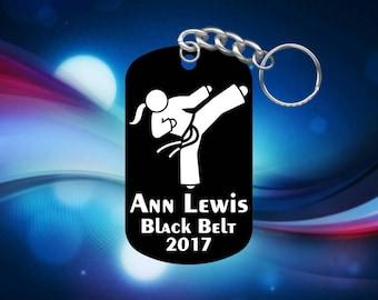 Taekwondo Karate Girl Martial Arts Dog Tag Keychain - Super Hard Anodized - Personalized Name, Belt, Year
