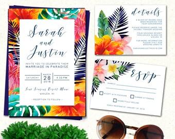 Wedding Invitation, Destination Wedding Invitation, Tropical Wedding Invitation, Destination Wedding Invitation Suite, Tropical Invitation