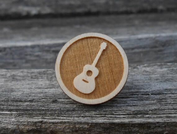 Guitar Tie Tack. Laser Engraved Wood. Wedding, Groom, Anniversary, Birthday, Christmas, Valentines, Dad, Groomsmen Gift.
