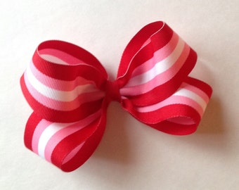 Boutique Cinnamon Stripe Bow by Cheryls Bowtique, Red, Pink, White