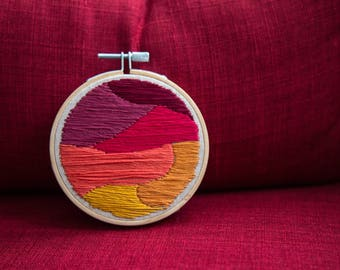 READY TO SHIP Abstract Landscape Embroidery Hoop Art Sunset Colorful