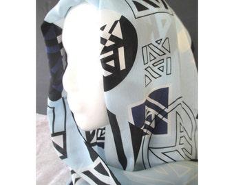 ANNE KLEIN Scarf * Geometric AK Design * Long Silk Scarf