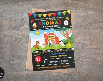 Farm Birthday Party Invitation Printable, Personalized Old McDonald Invite, Farm Animal Birthday Invitation For Boys, Digital Party Supplies