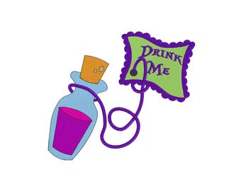 Drink Me- Embroidery Design - Alice in Wonderland - 4x4, 6x6, 7x8, 9x10, 11x12