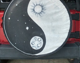 Hand Painted Sun and Moon Tire Cover