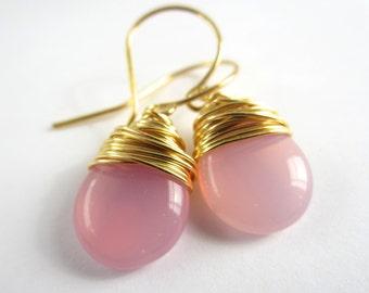 Milky Pink Earrings Wire Wrapped Earrings Czech Glass Jewelry Dangle Tear Drop Earrings Wire Wrapped Jewelry Handmade Valentines Day Gift