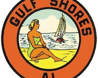 Vintage Style Gulf Shores AL Alabama  Orange Beach   Travel Decal sticker