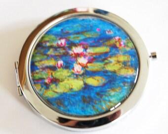 Monet, water lilies, compact mirror, mirror, purse mirror, compact mirror, blue, water lily (2140)