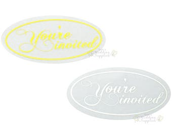 50x Silver or Gold You're Invited Envelope Stickers Seals Wedding Invitations Stationery Supplies