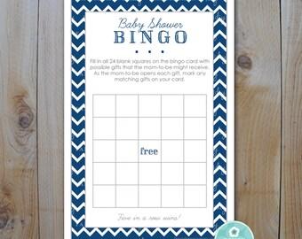 Baby Shower Bingo Game Card / Navy Midnight Blue Chevron / DIY Printable Bingo Cards / Instant Download / PRINTABLE /  218