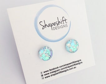 12mm Glass Glitter Stud Earrings - Pastel Blue and Silver