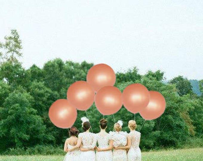 "Rose Gold Balloon 36"" 6 Pack, Round Rose Gold Balloon, Giant Round 36 inch Rose Gold Balloons, Huge Rose Gold Balloon"