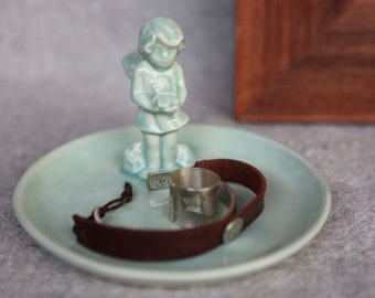Ceramic Fairy Ring Dish in Stoneware with Aqua Green Glaze