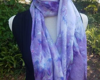 Purple Silk Tie Dye Scarf or Headwrap