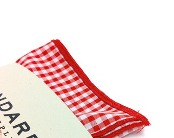 Red Gingham Pocket Square serged with Red Trim.