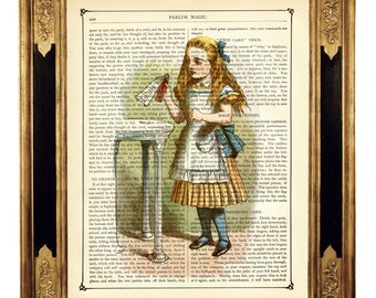 Alice in Wonderland Art Print Image Drink Me Potion Bottle Poster color - Vintage Victorian Book Page Art Print Steampunk