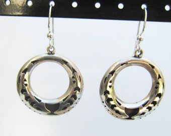 Taxco Mexico Sterling Silver Cut Out Design Cut out Disk - Hoop Dangle Earrings - 2633