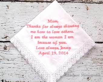 Personalized Embroidered Wedding Hanky For Mother of the Bride Park Ave Lace