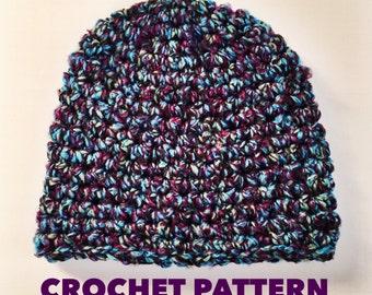 Mystic Beanie Crochet Pattern- Mens Beanie Crochet Pattern- Womens Super Chunky Beanie Pattern- Seamless Easy Hat- Super Bulky Yarn