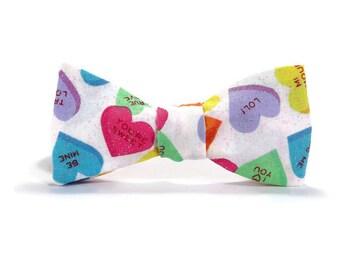 Conversation hearts Bowtie, candy bowtie, valentine's day bowtie, love bowtie, valentines gift for him, valentine accessory