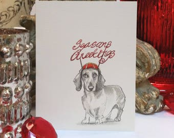 Boxed Dachshund Holiday Cards