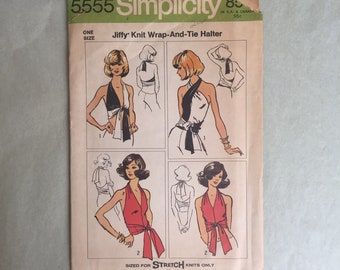 Vintage 70's Halter Top Pattern, 80s Halter Top Pattern, Simplicity 5555, Sexy Wrap Halter Top, OSFA, Festival, Hippie, Boho, Bohemian,