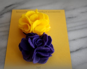 Felt Flower hair Clip, Purple & Gold, ECU PIRATES, gifts for her, by ktnunna