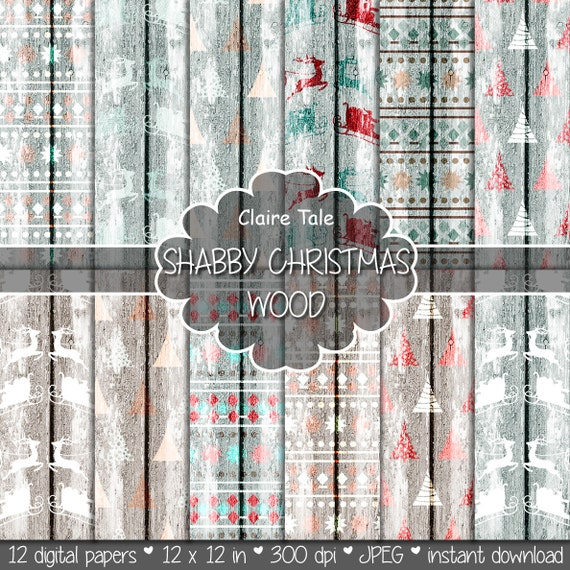 """Christmas paper: """"SHABBY CHRISTMAS WOOD"""" with rustic shabby christmas backgrounds, wood grain christmas, grungy x-mas, distressed christmas"""