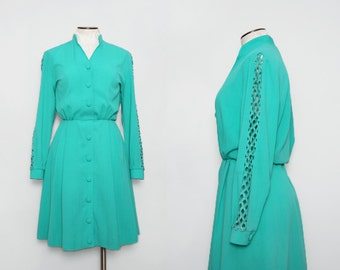 1980s Teal Day Dress / Vintage 80s Cut Out Sleeve Dress / Medium