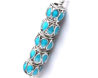 Turquoise  European Beads ,  10mm  Murano Lamp work Bead  ,  Fits Charm European Bracelet , 5 Pcs