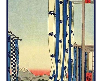 GREAT SALE Hiroshige The Dyers' District in Kanda Counted Cross Stitch Chart -  Japanese Woodcut Artist Design