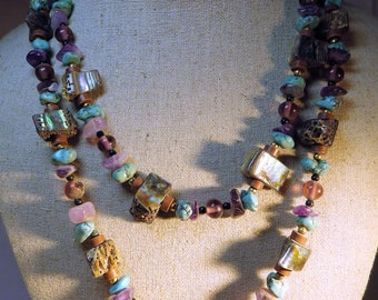 1980s Vintage Carol Dauplaise Necklace Stunning Mix of Abalone Turquoise Amethyst